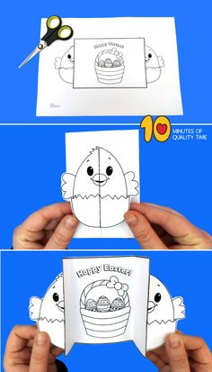 Easter Chick Folding Card activities for toddlers outdoor Easter Chick Folding Card Easter Crafts For Toddlers, Easter Activities, Toddler Crafts, Preschool Crafts, Preschool Kindergarten, Toddler Preschool, Diy Easter Cards, Diy Easter Decorations, Easter Bunny Colouring