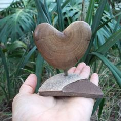 "Wood & stone sculpture - ""LOVE"" - unique heart gift handmade in Australia - by NaturesArtMelbourne on Etsy"