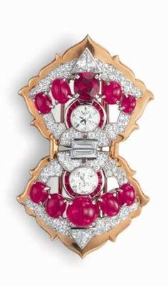 A RUBY AND DIAMOND CLIP BROOCH, BY CARTIER  Designed as an openwork pavé-set diamond and gold bow, centering upon two old European-cut diamonds, within a calibré and cabochon ruby surround and spray, with trillion and baguette-cut diamond accents, one cabochon ruby replaced with an oval-cut ruby), mounted in platinum and gold Signed Cartier, no. 46-75298