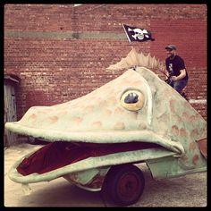"@georgipaech's photo: ""Bump out of the #adlfringe launch involves riding a fish bike #justanotherdayintheoffice"""