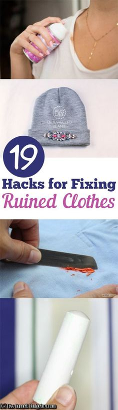 19 Hacks for Fixing Ruined Clothes. Find a way to fix up your favorite clothing item that got ruined. #clothing #clothes