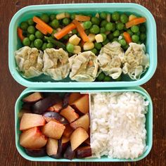 Lunch box: steamed dumplings (TJs), frozen veggies, cut up plum, and rice (sub out another fruit or veggie or small treat).