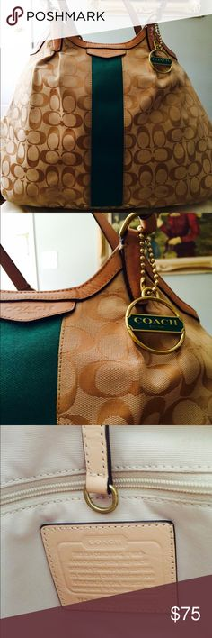 Authentic COACH satchel bag A great bag for fall or summer. Tan coach fabric, with a pop of color, green stripe down the front. Very large interior, to hold all your stuff! Comes with authentic coach storage bag. Bought for $275 Coach Bags Satchels