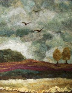 Afternoon Flight Needlefelt Art XLg Wool by Deebs on Etsy Felt Wall Hanging, Felt Pictures, Needle Felting Tutorials, Felt Embroidery, Wool Art, Landscape Quilts, Thread Painting, Wet Felting, Felt Art