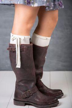 Put A Bow On It in Cream. #littlebootpeep #bootpeeps #boots #frye #womensaccessories #womensfashion #bootcuffs #boottoppers #bootsocks #Giftsforwomen #madeintheusa #littlebootpeep #fryeveronicaslouch