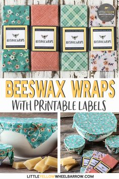 Easy to make diy beeswax wraps, no resin required! These eco friendly bees wax wraps make great gifts and are a perfect addition to your waste free kitchen. Bees Wax Wraps, Bees Wrap, Homemade Gifts, Diy Gifts, Crafts To Sell, Easy Crafts, Diy Beeswax Wrap, Sewing Projects, Diy Projects