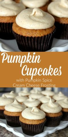 Pumpkin Cupcakes with Pumpkin Spice Cream Cheese Frosting - All Things Mamma These Pumpkin Cupcakes with Pumpkin Spice Cream Cheese Frosting are the perfect way to celebrate fall! Whip up a batch this weekend - you'll love them! Pumpkin Spice Cupcakes, Pumpkin Dessert, Pumpkin Spice Latte, Pumpkin Pumpkin, Pumpkin Rolls, Pumpkin Cookies, Dessert Simple, Köstliche Desserts, Dessert Recipes