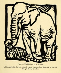 1927 Black and White Linocut Elephant G. S. Brien Artwork Wildlife Wild Animals #vintage #elephant