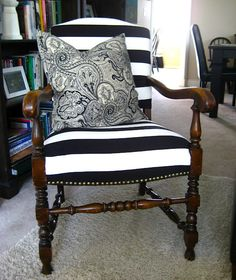 ✥ Reader Feature: Reupholstered Stripey Chair {& more} ✥ Black and White Striped Chair Reupholstered DIY, Ive always wanted to do this. maybe I'll find. Reupholster Furniture, Chair Upholstery, Upholstered Furniture, Refurbished Furniture, Furniture Makeover, Diy Furniture, Furniture Refinishing, Refinished Chairs, Unique Furniture