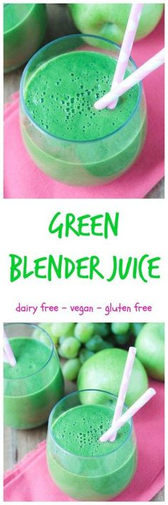 Green Blender Juice - no juicer, no problem! Get this green drink with a juice like consistency all with the ease of a blender. Pour it through a strainer for a true juice like consistency or leave in the pulp for the benefits of the added healthy fiber. Either way, it's delicious!