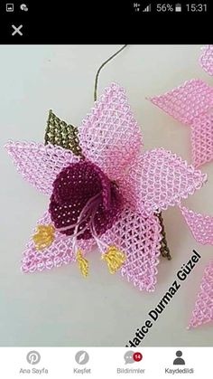 This post was discovered by Ba Flower Crafts, Diy Flowers, Fabric Flowers, Needle Tatting, Needle Lace, Shuttle Tatting Patterns, Holiday Crochet Patterns, Crochet Hooded Scarf, Needlepoint