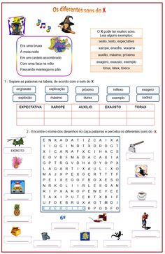 Sons do X      Rérida Maria Learn Portuguese, Maria Jose, Sistema Solar, Primary School, Sons, Homeschool, Learning, Blog, Kids Learning Activities