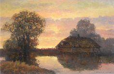 Wiktor KORECKI ,Chata nad wodą , olej, płyta, 40 x 60 cm