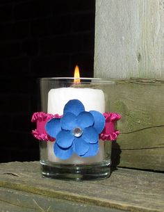 Summer Wedding Decoration / Wedding Votive by CarolesWeddingWhimsy, $24.99 set of 6, Fuchsia and Blue Bling Wedding Votive Candle Holder - Bold colors for the bold wedding.....Summer Wedding, Beach Wedding or just a Fuchsia Lover.  The touch of Bling in the center gives it the wow factor.  Check them out at https://www.etsy.com/listing/185756643/summer-wedding-decoration-wedding-votive?