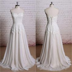 A-line Strapless Sweetheart Ivory Tulle Lace Beach Wedding Dresses,apd2237