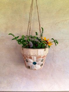 Mosaic hanging planter, succulent planter, outdoor planter, mosaic planter, hanging window pot, handmade indoor planter, hanging flower pot by moZEHicDesigns on Etsy