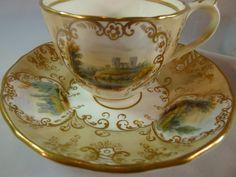 ANTIQUE HILDITCH & HOPWOOD HP CASTLE SCENIC  TEA  CUP AND SAUCER GILT c1850-55