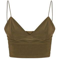 Jill Khaki Slinky Bralet ($13) ❤ liked on Polyvore featuring tops, shirts, bralet, crop top, blusas, khaki crop top, shirt top, bralet tops, cropped tops and shirt crop top