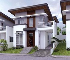 Another Minimalist Double-storey Modern House for your Inspiration - Pinoy House Plans Double Storey House, 2 Storey House Design, Small House Design, Modern House Design, Modern Style Homes, Modern Bungalow, Philippine Houses, House Architecture Styles, House Outside Design