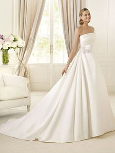 Satin Lace Strapless Ball Gown Waistline Accented On Beadings Wedding Dress at Millybridal.com