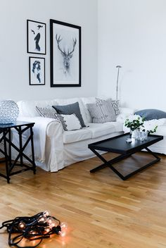 Black and white living room brought to life with animal print and a few patterned grey cushions. #simpleandbeautiful #homedecor