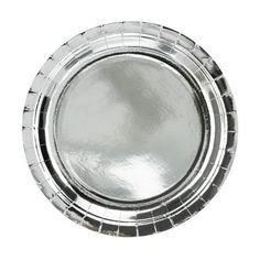 Pack Of 8 23cm Foil Silver Paper Party Plates Metallic Shiny Large Plates