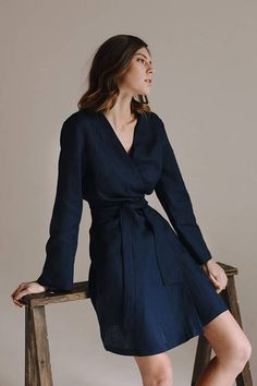 """Midnight dark blue robe dress is perfect both for home and outdoor. It is made of pure linen, which is very soft. This robe has minimalistic design and is the best choice for those, who appreciate classic and elegant clothes.   DETAILS:  Model hight: 5`8""""(176 cm) Model measurements: bust - 34"""", waist - 22"""", hips - 35"""" - 100% linen - Available sizes: S, M, L - Color: Dark blue (color may look different on different displays, because of their settings)  Robe length: s - 38"""" (96 cm), m - 38..."""