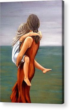 Figurative Acrylic Print featuring the painting Mother And Daughter by Natalia Tejera