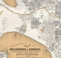 Vintage Map of Melbourne City , Australia Oceania 1851 - product images of Melbourne Map, Melbourne Suburbs, Melbourne Victoria, Victoria Australia, Vintage Maps, Vintage Travel Posters, St Kilda, Old Maps, Wayfarer