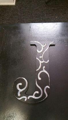Black J with Silver glitter scroll