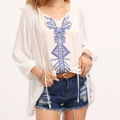 25% off Bundles• New Bohemian Embroidered Top Beautiful embroidered top. Features an embroidered front and a tie style front. Sleeves are 3/4 sleeve. A little sheer. Material: rayon. Runs big for that flowy look. Tops
