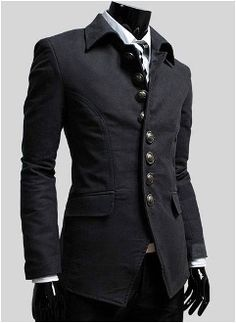 Elegant looking Korean style Men's Single Breasted Military Style Jacket....not my usual but I cld pull it off.