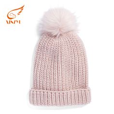 Womens fur knitted bobble beanie hat Custom Bobble Warm Winter Hat 237b31d7efa4