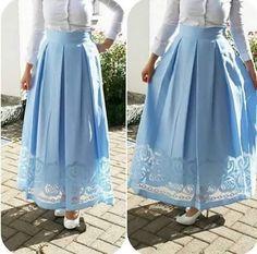 The lace design looks gorgeous Muslim Women Fashion, Islamic Fashion, Modest Fashion, Skirt Fashion, Hijab Fashion, Fashion Dresses, Hijab Evening Dress, Hijab Dress Party, Hijab Style Dress