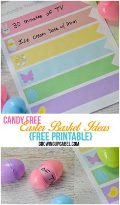 Looking for Candy Free Easter Baskets Ideas for Kids? Use these free Easter printables to give the kids treats without sugar!