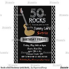 Rock n Roll Rockstar Birthday Invitation Fun birthday party invites - customize your invitations. 40th Birthday Parties, 50th Birthday Party, Boy Birthday, Happy Birthday, 21st Birthday Invitations, Invites, Rock Star Party, Party Supplies, Fun