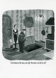 Printed by International Trade Publishers of art prints. SINGLE NOTECARD Notecard Size: x Charles Addams ©Tee and Charles Addams Foundations. Charles Addams, Morticia Addams, Beetlejuice, Note Cards, Nativity, Pop Culture, Concept Art, Comic Illustrations