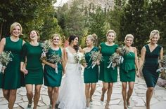Gorgeous emerald green mismatched bridesmaid dresses! So stunning.