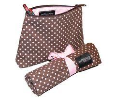 Chocolate brown and strawberry pink polka dot makeup brush roll and makeup bag travel set by asoftblackstar on #Etsy