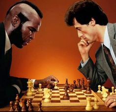 Mr T vs Rambo playing the Hollywood Gambit. Chess at the Movies. Rocky Film, Rocky 3, Rocky 1976, Rocky Series, Rocky Balboa, Stallone Rocky, Silvester Stallone, How To Play Chess, Chess Players