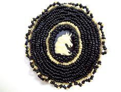 Black and Ivory Unicorn Hair Clip   www.MegansBeadedDesigns.com