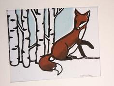 Red Fox - Hand Printed Linocut