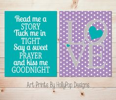 Nursery Décor-Nursery Art Prints-Purple Turquoise Wall Décor-Toddler Girls Room-Baby Girl Nursery-Read Me A Story-LOVE typography-Set of 2 prints