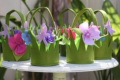 Spring Fairy Party- Felt party favor baskets. So lovely