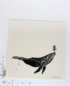 Original Linoldruck eines Blauwales. **Blauwal** Wenn mann erstmal Walverliebt ist kann man nie genug Wal haben :) Das Bild ist ein original Linoldruck, den ich in limitierter Auflage...