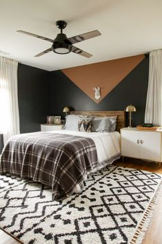 Modern Boho Bedroom with pendleton Hunter ceiling fan in desert neutrals. Modern Bedroom, Master Bedroom, Bedroom Decor, Bedroom Ideas, Eclectic Bedrooms, Contemporary Bedroom, Bedroom Designs, Bohemian Bedrooms, Wall Decor