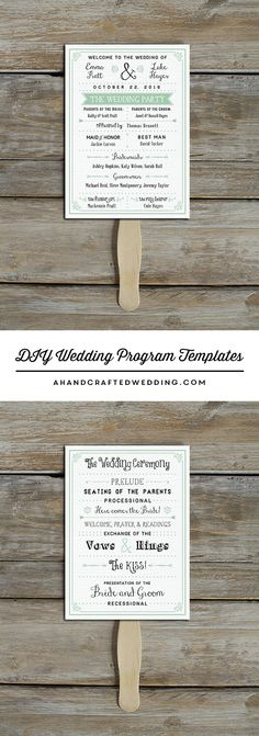 Download and customize this vintage-inspired DIY Wedding Program Template that you can double up as a fan | ahandcraftedwedding.com #printables