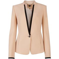 Ted Baker Teamo Contrast Trim Crepe Blazer in Beige (nude) - Lyst Office Outfits, Mode Outfits, Casual Outfits, Look Blazer, Blazer And Shorts, Blazer Jacket, Pink Jacket, Tailored Jacket, Trajes Business Casual