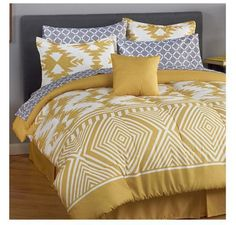 "MyHome ""Phoenix"" 8 Piece Bedding Set in Yellow - Queen #MyHome"