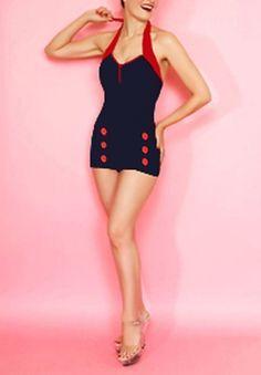 Vintage 50's Pinup Women Rockabilly Swimwear Swimsuit Sailor Polka Size Sz M | eBay